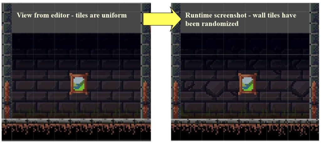 Background tiles before and after randomization.