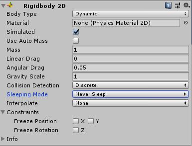 "Problems with sleeping Rigidbody component? Set the ""Sleeping Mode"" to ""Never Sleep""."