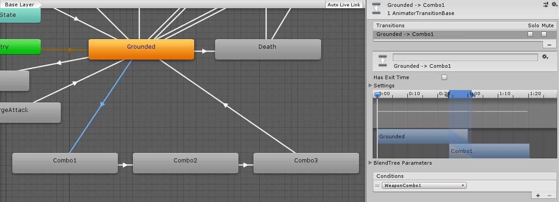 Combo animation states